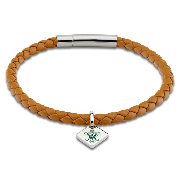 College of William & Mary Leather Bracelet with Sterling Silver Tag - Saddle
