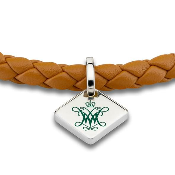 College of William & Mary Leather Bracelet with Sterling Silver Tag - Saddle - Image 2
