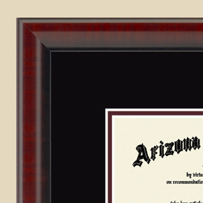 Cherry Wood Diploma Frame Close-up
