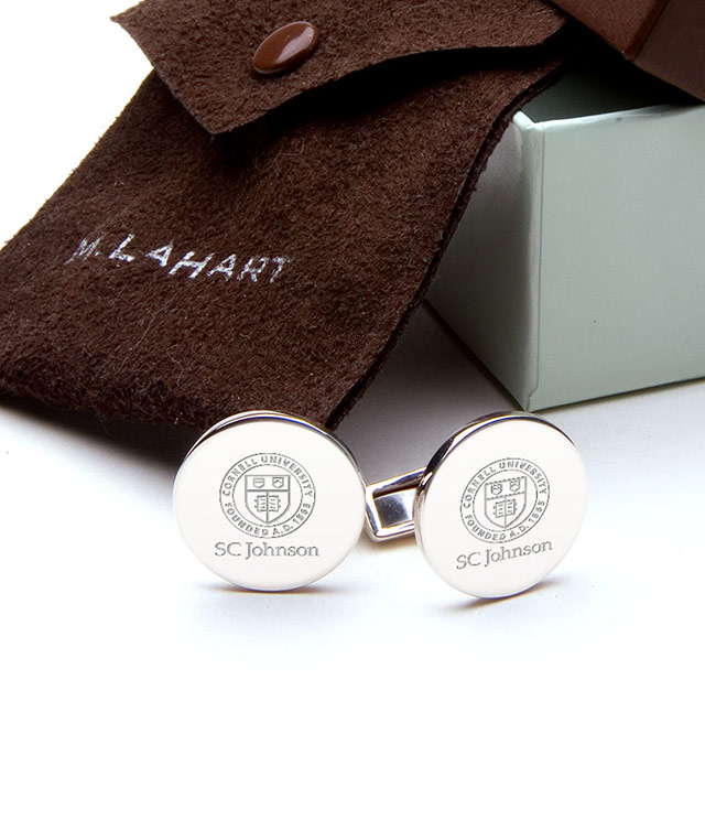 Cornell SC Johnson College Men's Sterling Silver and Gold Cufflinks, Money Clips - Personalized Engraving