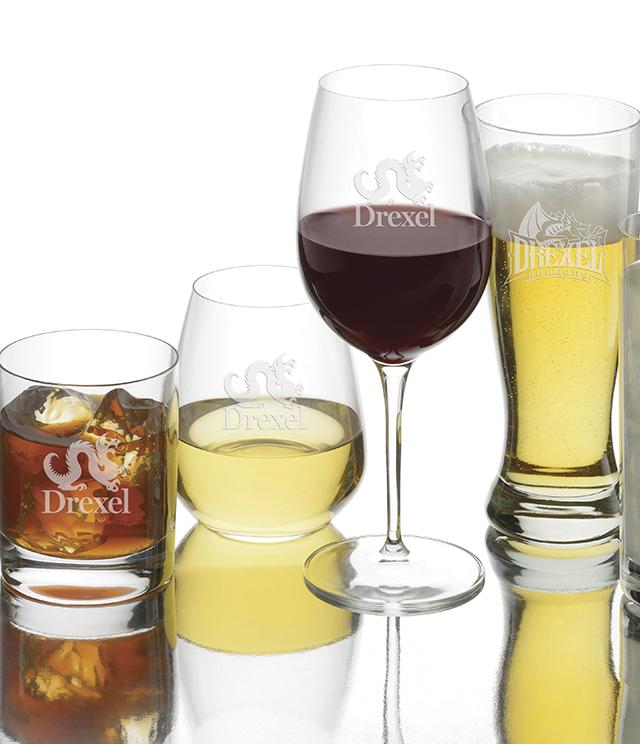 Drexel University Glassware - Crystal and Simon Pearce Stemware, Decanter, Drexel University Glass, Tumblers, Pilsners, Wine