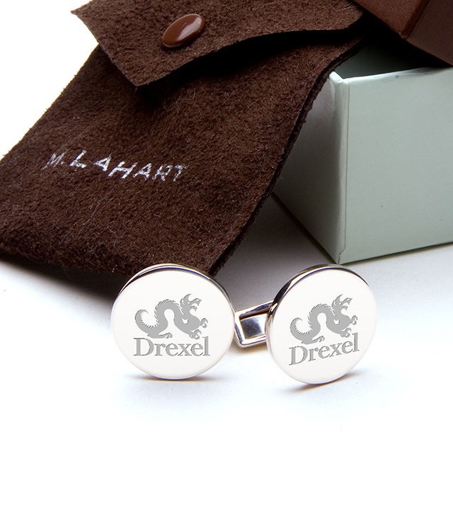 Drexel University Men's Sterling Silver and Gold Cufflinks, Money Clips - Personalized Engraving
