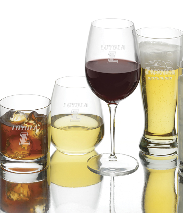 Loyola University Glassware - Crystal and Simon Pearce Stemware, Decanter, Loyola University Glass, Tumblers, Pilsners, Wine