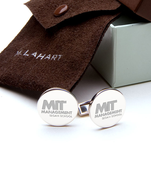 MIT Sloan Men's Sterling Silver and Gold Cufflinks, Money Clips - Personalized Engraving