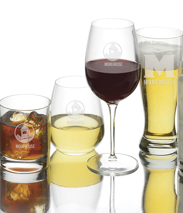 Morehouse College Glassware - Crystal and Simon Pearce Stemware, Decanter, Morehouse College Glass, Tumblers, Pilsners, Wine