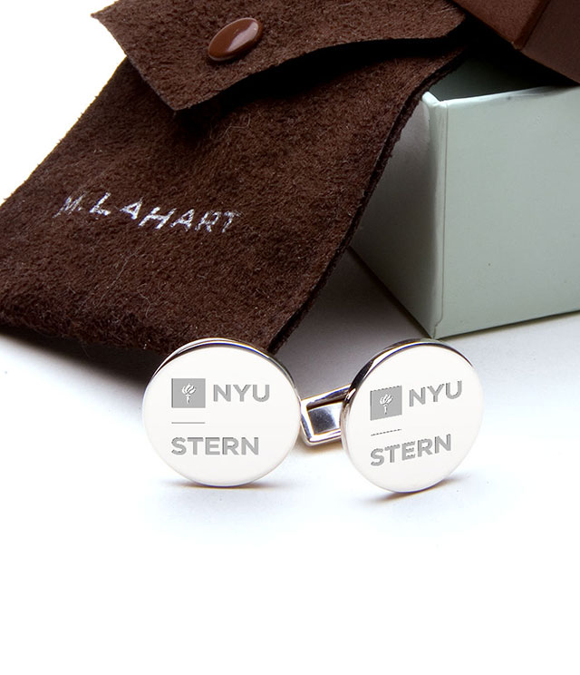 NYU Stern Men's Sterling Silver and Gold Cufflinks, Money Clips - Personalized Engraving