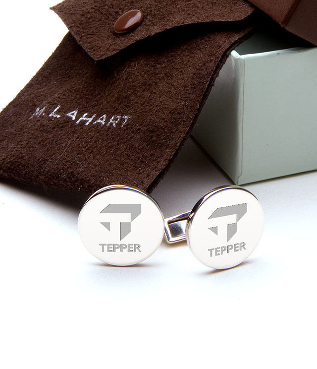 Tepper School of Business Men's Sterling Silver and Gold Cufflinks, Money Clips - Personalized Engraving