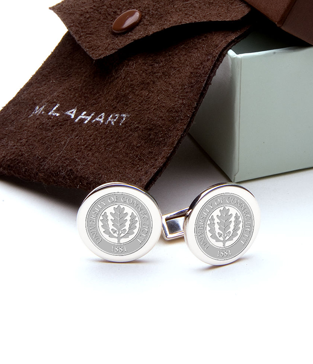 UConn Men's Sterling Silver and Gold Cufflinks, Money Clips - Personalized Engraving