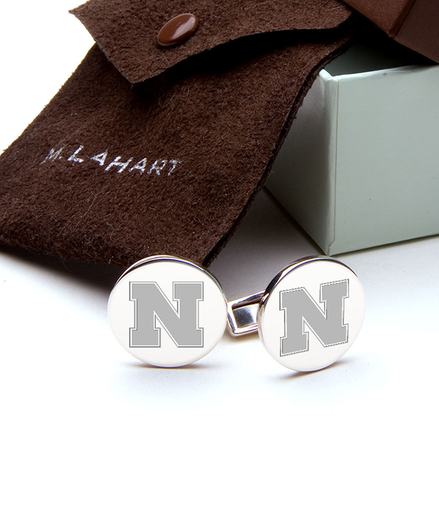 Nebraska Men's Sterling Silver and Gold Cufflinks, Money Clips - Personalized Engraving
